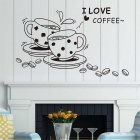 """I Love Coffee"" Wall Decal Removable Cute Coffee Cup Kitchen Restaurant Vinyl Wall Stickers - Black"