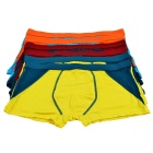 DIHUANGBANG Men's Stylish Breathable Bamboo Fiber Boxer Brief Underwear - Blue + Orange (3XL / 6PCS)