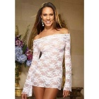 Transparent Tight Boat Neck Long-Sleeved Lace Sexy Lingerie - White