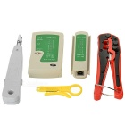 468 Tester + KD-1JPX-DXD + Small Card Knife + 335 Network Wire Pliers Tool Set - Green + Red