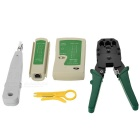 468 Tester + KD-1JPX-DXD + Small Card Knife + 315 Network Wire Pliers Tool Set - Green + Multicolor