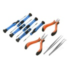 10-in-1 Repairing High Carbon Steel Pliers + Nippers + Screwdriver Set - Black + Orange + Multicolor