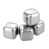 Reusable Stainless Steel Wine Whiskey Drink Chiller Stones Rocks / Ice Cubes - Silver (4PCS)