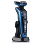 Face Care Rotary Systemic Water Wash Rechargeable Shaver w/ 4 Blades - Blue + Black + Multicolor