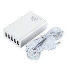 5-USB EU plugg smart lader for telefon / tablet PC - hvit