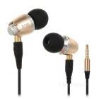 SUR S520 Detachable 3.5mm Metal In-Ear Wired Earphones w/ Mic. / Remote - Gold + Black + Multicolor