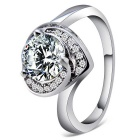 Rshow S925 Silver Platinum Rhinestone-studded Zircon Inlaid Heart Ring - Silver (US Size 8)