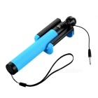 3,5 milímetros retrátil Wired Handheld Monopod Selfie Rod w / Telefone Clip Holder - Black + Azul