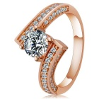 Rshow S925 Silver Zircon Inlaid Bar Drill Ring - Champagne Gold (US Size 8)