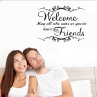Welcome Friends Quote Greeting Words for Door Home Decor Removable DIY Wall Decals - Black