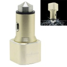 FineSource 3.1A Dual-USB Car Charger Adapter w/ Safety Hammer - Golden (12~24V )