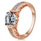 Rshow Women's Fashionable S925 Silver Zircon Inlaid Ring - Champagne Gold (US Size: 8)