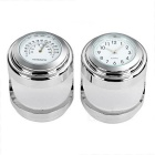 Motorcycle Clock + Thermometer Set for Harley & More - White + Silver