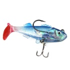 8g Silicone Simulation Fishing Bait 3-Barb Hook - Blue + Red