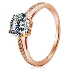 S925 Silver Zircon Finger Ring - Champaign Gold (US Size 8)