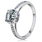 S925 Silver Zircon Four Claw Finger Ringe - Silver (US Size 8)