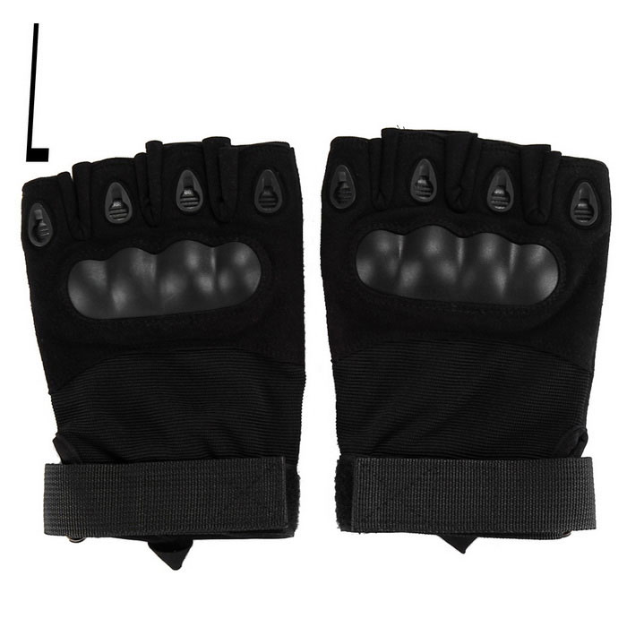 Cycling Hunting Tactical Anti-Slip Half-Finger Gloves - Black (L)Gloves<br>Form ColorBlackSizeLQuantity1 DX.PCM.Model.AttributeModel.UnitMaterialCarbon fiberTypeHalf-Finger GlovesSuitable forAdultsGenderUnisexPalm Girth19-21.5 DX.PCM.Model.AttributeModel.UnitGlove Length16 DX.PCM.Model.AttributeModel.UnitBest UseCycling,Mountain Cycling,Recreational Cycling,Road Cycling,Bike commuting &amp; touringPacking List1 x Pair of gloves<br>