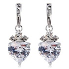 Fashionable Heart Shaped Alloy + Crystal Earrings for Women - Silver (Pair)