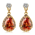 Women's Hanging Water Drop Style Crystal Decorated Stud Earrings - Golden (Pair)