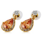 Women's Hanging Water Drop Style Stud Earrings - Golden (Pair)