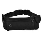 Fashionable Sports Canvas + Cotton Waist Bag w/ Earphones Hole - Black