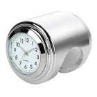 Universal Motorcycle Handlebar Mounted Clock for Harley & More - Silver + White