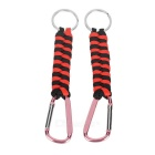 Outdoor Survival Bracelet Style 7-Strand Cord Paracord Keychain w/ Carabiner - Red + Black (2pcs)