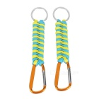 Outdoor Survival Bracelet Style 7-Strand Cord Paracord Keychain w/ Carabiner - Yellow + Blue (2pcs)