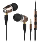 SUR-S520 3.5mm Detachable In-Ear Wired Earphones w/ Mic. Set - Black + Dark Grown (124cm-cable)