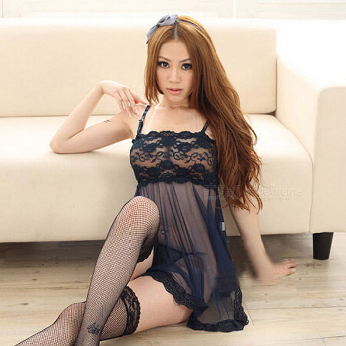 Sexy Lace Halter Sleep Dress Lingerie - Navy Blue