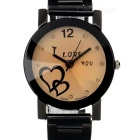 Women's I Love You Pattern Dial Steel Band Quartz Analog Wrist Watch - Black (1 x AG5)