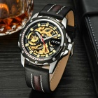 PU Leather Band Self-Winding Mechanical Wrist Watch - Black + Golden