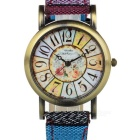 Women's Retro Nylon Band Analog Quartz Wrist Watch - Bronze + Blue + Multi-Colored (1 x 377)