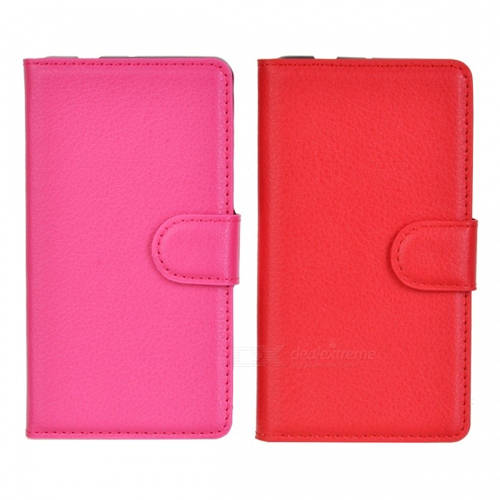 PU Cases w/ Card Slots for Xperia Z3 Compact - Red + Deep Pink (2PCS)