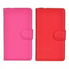 Protective Flip-Open PU Case w/ Card Slots for Sony Xperia Z3 Compact - Red + Deep Pink (2 PCS)