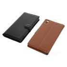 Lichee Pattern PU Case for Xperia Z4 - Brown + White + Black (3PCS)