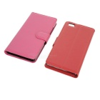 Lichee Pattern Case w/ Stand for Huawei P8 Lite - Red+Deep Pink (2PCS)