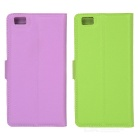 Lichee Pattern Case w/ Stand for Huawei P8 Lite - Purple+Green (2PCS)