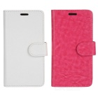 Protective Flip-Open PU Case w/ Stand & Card Slot for Samsung S6 Edge - White + Deep Pink (2pcs)