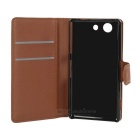 PU Case w/ Stand for Sony Z4 Compact - White + Black + Brown (3PCS)