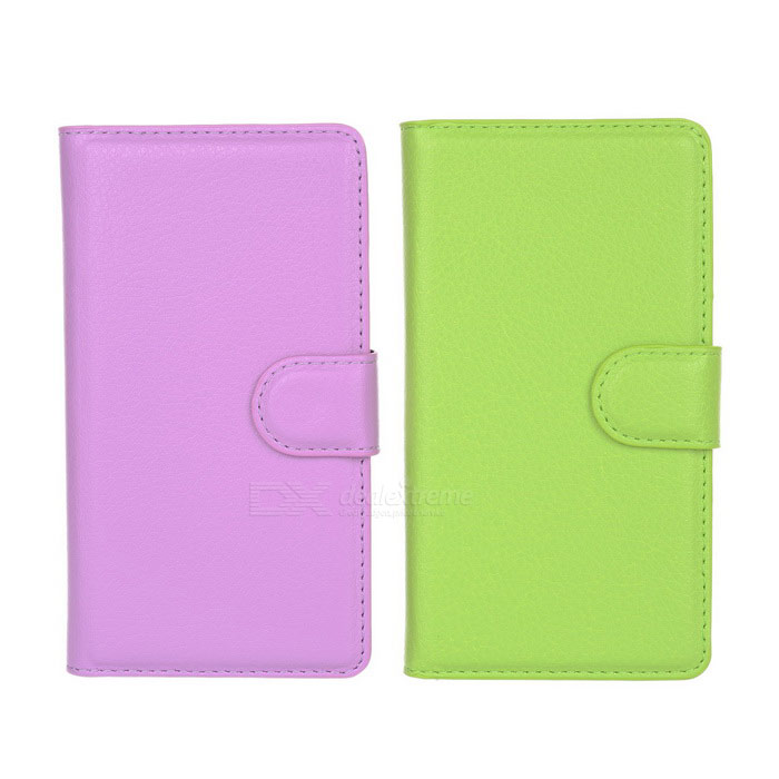 PU Cases w/ Card Slots for Sony Z3 Compact - Purple + Green (2PCS)