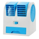 Portable USB 2.0 Mini Air Conditioning Fan - Blue + White (3 x AA)