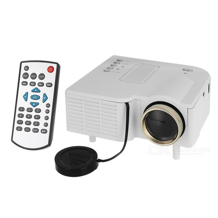 Mini Portable 1080P HD Home LED Projector w/ AV, SD, VGA, HDMI - WhiteProjectors<br>Form ColorWhiteQuantity1 DX.PCM.Model.AttributeModel.UnitMaterialABS + componentsShade Of ColorWhiteOperating SystemNoTypeLCDBrightness400 DX.PCM.Model.AttributeModel.UnitMenu LanguageEnglish,Chinese SimplifiedBuilt-in SpeakersYesLife Span20000 DX.PCM.Model.AttributeModel.UnitEmitter BINLEDLens EffectsWide angleDisplay Size20~80Aspect RatioOthers,4:3/16:9Contrast Ratio300:1Native Resolution320 x 240Maximum Resolution1920 x 1080Throw Distance1~3.8mBuilt-in Memory / RAMNoStorageNoExternal MemorySD, up to 128GBAudio FormatsMP3,WMA,AAC,Others,7 sound effects + SRSVideo FormatsRM,RMVB,AVI,MKV,MP4Picture FormatsJPEG,BMP,PNGInput ConnectorsAV, USB, SD, VGA, HDMIOutput Connectors3.5mm audio jackInput Video CompatibilityDigitalPower Consumption24WPower Supply12V / 2APower AdapterOthers,US PlugOther FeaturesColor: 16770K; Lens: F=125Packing List1 x Projector1 x Remote control (2 x AAA, not included)1 x 100~240V power adapter (111+/-2cm)1 x 3-in-1 AV cable (21.5+/-2cm)1 x Chinese / English user manual<br>