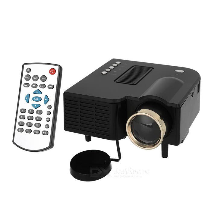 Mini Portable 1080P HD Home LED Projector w/ AV, SD, VGA, HDMI - BlackProjectors<br>Form ColorBlackQuantity1 DX.PCM.Model.AttributeModel.UnitMaterialABS + componentsShade Of ColorBlackOperating SystemNoTypeLCDBrightness400 DX.PCM.Model.AttributeModel.UnitMenu LanguageEnglish,Chinese SimplifiedBuilt-in SpeakersYesLife Span20000 DX.PCM.Model.AttributeModel.UnitEmitter BINLEDLens EffectsWide angleDisplay Size20~80Aspect RatioOthers,4:3/16:9Contrast Ratio300:1Native Resolution320 x 420Maximum Resolution1920 x 1080Throw Distance1~3.8mBuilt-in Memory / RAMNoStorageNoExternal MemorySD, up to 128GBAudio FormatsMP3,WMA,AAC,Others,7 sound effects + SRSVideo FormatsRM,RMVB,AVI,MKV,MP4Picture FormatsJPEG,BMP,PNGInput ConnectorsAV, USB, SD, VGA, HDMIOutput Connectors3.5mm jackInput Video CompatibilityDigitalPower Consumption24WPower Supply12V / 2APower AdapterUS PlugsOther FeaturesColor: 16770K; Lens: F=125Packing List1 x Projector1 x Remote control (2 x AAA, not included)1 x 100~240V power adapter (111+/-2cm)1 x 3-in-1 AV cable (21.5+/-2cm)1 x Chinese / English user manual<br>