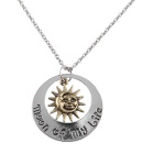 Fashion Dress Punk Style Sun & Star Alloy Pendant Necklace Jewelry Ornament - Bronze + Silver (49cm)