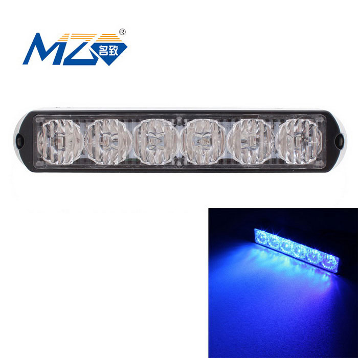 MZ 18W Blue 6-LED Car Flashing Warning Signal Lamp - Black (12~24V)