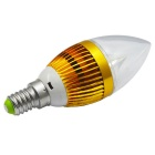 JIAWEN E14 3W 3-LED Dimmable Bulb Light Warm White 300lm - Golden