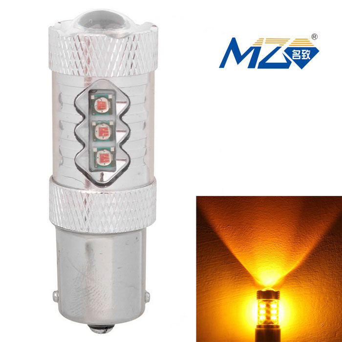 MZ 1156 80W 16-XT-E 577nm 4000lm Yellow Car Lamp (12~24V)Tail Lights<br>Color BIN1156 80W YellowModelN/AQuantity1 DX.PCM.Model.AttributeModel.UnitMaterialAluminumForm ColorSilverEmitter TypeLEDChip BrandOthers,N/AChip TypeXT-ETotal EmittersOthers,16PowerOthers,80wWavelength597~577 DX.PCM.Model.AttributeModel.UnitTheoretical Lumens4400 DX.PCM.Model.AttributeModel.UnitActual Lumens4000 DX.PCM.Model.AttributeModel.UnitRate Voltage12~24VWaterproof FunctionNoConnector Type1156ApplicationSteering light,FoglightPacking List1 x LED Bulb<br>