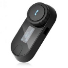 "Bluetooth Receiver Interphone w/ 0.9"" LCD, FM + Helmet Headset for IPHONE - Black (EU Plug)"