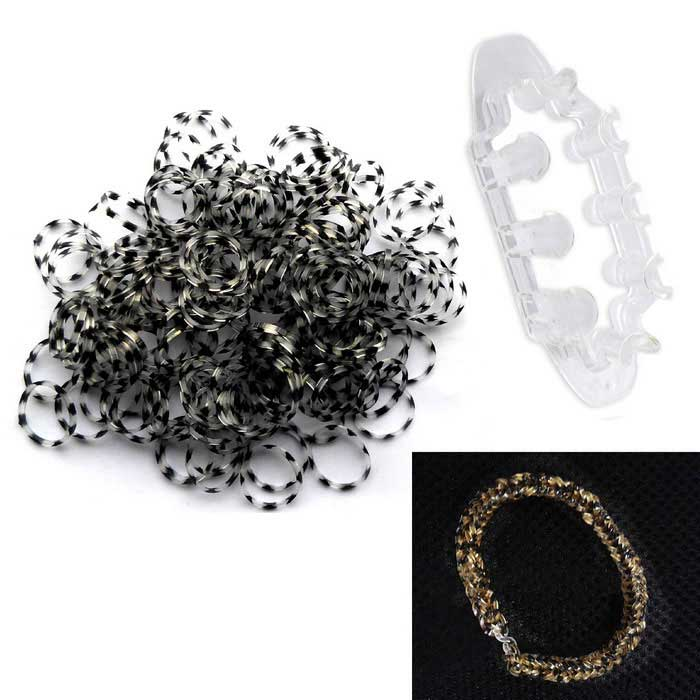 Leopard DIY Silicone Rubber Bands Woven Bracelets - Black (200PCS)
